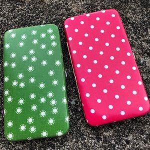 2 NWT flat wallets polka dots